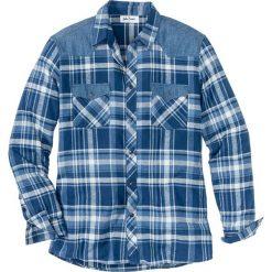 Koszula Regular Fit bonprix niebieski w kratę. Białe koszule męskie marki bonprix, z klasycznym kołnierzykiem, z długim rękawem. Za 89,99 zł.