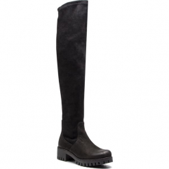 Muszkieterki KARINO - 2762/003-F Czarny. Czarne buty zimowe damskie marki Karino, z materiału, przed kolano, na wysokim obcasie, na obcasie. W wyprzedaży za 299,00 zł.