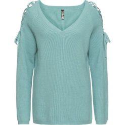 Sweter z wycięciami bonprix niebieski mineralny. Niebieskie swetry klasyczne damskie bonprix, ze sznurowanym dekoltem. Za 74,99 zł.