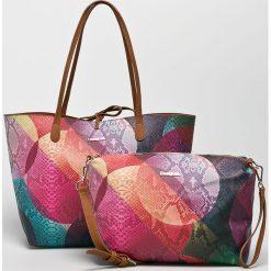 Desigual - Torebka dwustronna. Szare torebki klasyczne damskie marki Desigual, l, z tkaniny, casualowe, z długim rękawem. Za 349,90 zł.