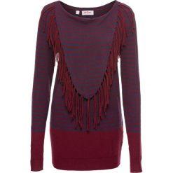 Swetry klasyczne damskie: Sweter, długi rękaw bonprix czerwony klonowy – niebieski w paski