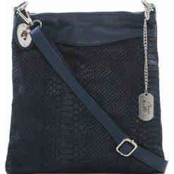 Torebki klasyczne damskie: Skórzana torebka w kolorze granatowym – 26 x 28 x 3 cm