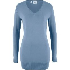 Długi sweter bonprix matowy niebieski. Niebieskie swetry klasyczne damskie bonprix, z dzianiny. Za 59,99 zł.