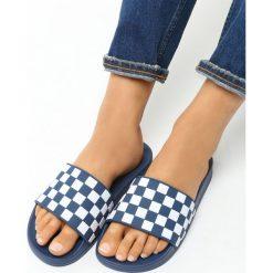 Klapki damskie: Niebieskie Klapki Chessboard
