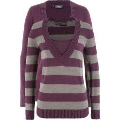 Sweter (2 szt. w opak.) bonprix czarny bez w paski + czarny bez. Fioletowe swetry klasyczne damskie marki bonprix, z dekoltem w serek. Za 89,98 zł.