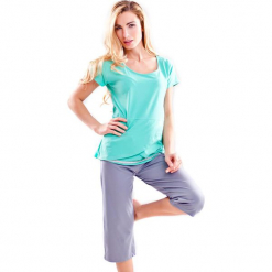 Piżama w kolorze turkusowo-fioletowym - t-shirt, spodnie. Niebieskie piżamy damskie Doctor Nap, s. W wyprzedaży za 64,95 zł.