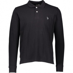 Koszulka polo w kolorze czarnym. Czarne koszulki polo marki U.S. Polo Assn., m, z haftami. W wyprzedaży za 130,95 zł.