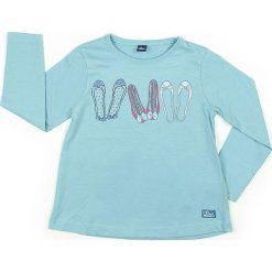 Koszulka w kolorze błękitnym. Niebieskie bluzki dziewczęce bawełniane marki Street Monkey, z okrągłym kołnierzem, z długim rękawem. W wyprzedaży za 39,95 zł.