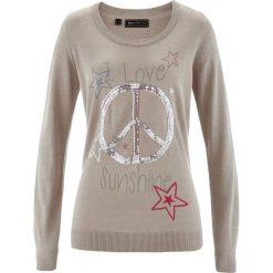 Swetry klasyczne damskie: Sweter z cekinami bonprix kamienisty melanż z kolorowym nadrukiem