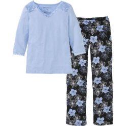 Bielizna damska: Piżama bonprix perłowy niebieski - czarny w kwiaty