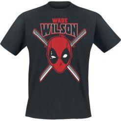 Deadpool Wade Wilson T-Shirt czarny. Czarne t-shirty męskie z nadrukiem Deadpool, m, z okrągłym kołnierzem. Za 54,90 zł.