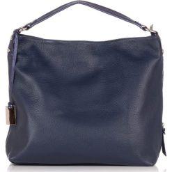 Torebki klasyczne damskie: Skórzana torebka w kolorze ciemnoniebieskim – (S)37 x (W)45 x (G)15 cm