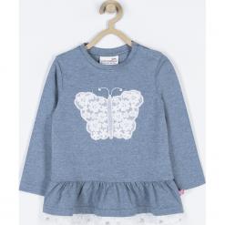 Koszulka. Niebieskie bluzki dziewczęce bawełniane marki BUTTERFLY, z aplikacjami, z falbankami, z długim rękawem. Za 59,90 zł.