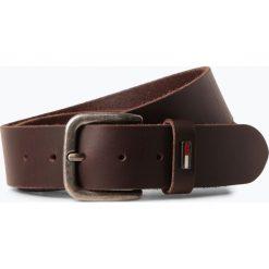 Tommy Jeans - Męski pasek skórzany, brązowy. Brązowe paski męskie marki Tommy Jeans, w paski, z jeansu. Za 179,95 zł.