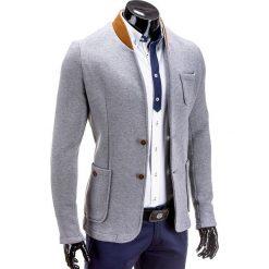 MARYNARKA MĘSKA CASUAL M07 - SZARA. Szare marynarki męskie slim fit Ombre Clothing, z bawełny. Za 79,00 zł.