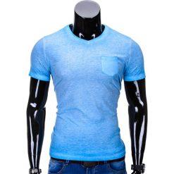 T-SHIRT MĘSKI BEZ NADRUKU S674 - NIEBIESKI. Czarne t-shirty męskie z nadrukiem marki Ombre Clothing, m, z bawełny, z kapturem. Za 24,99 zł.