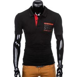 KOSZULKA MĘSKA POLO Z NADRUKIEM S904 - CZARNA. Czarne koszulki polo marki Ombre Clothing, m, z nadrukiem. Za 34,99 zł.