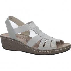 Szare sandały skórzane na koturnie Casu DS056/18GR. Szare sandały damskie Casu, na koturnie. Za 79,99 zł.