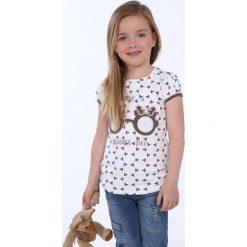 T-shirty dziewczęce: Bluzka dziewczęca we wzory biała NDZ8197