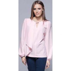 Bluzki damskie: Różowa Elegancka Wizytowa Bluzka z Asymetryczną Falbanką