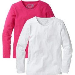 Koszulka z długim rękawem (2 szt.) bonprix ciemnoróżowy + biały. Czarne bluzki dziewczęce marki bonprix, w paski, z dresówki. Za 39,98 zł.