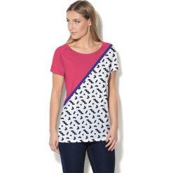 Colour Pleasure Koszulka damska CP-034  25 różowo-biało-czarna r. XL-XXL. Białe bluzki damskie marki Colour pleasure, xl. Za 70,35 zł.