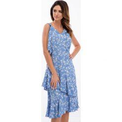 Niebieska sukienka z falbanami 21564. Niebieskie sukienki Fasardi, l. Za 69,00 zł.