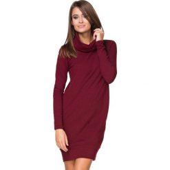 Bordowa Sukienka Dzianinowa Prosta z Golfem. Czerwone sukienki dresowe marki Molly.pl, na co dzień, l, casualowe, z golfem, oversize. Za 139,90 zł.