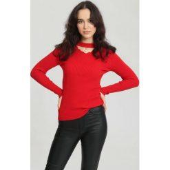 Czerwony Sweter Sit Through. Zielone swetry klasyczne damskie marki other, l, prążkowane. Za 49,99 zł.