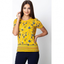 Żółta bluzka z kwiatowym motywem QUIOSQUE. Żółte bluzki longsleeves QUIOSQUE, s, w kwiaty, z bawełny, wakacyjne. W wyprzedaży za 59,99 zł.