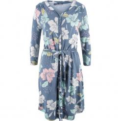 Sukienka, rękawy 3/4 bonprix matowy niebieski w kwiaty. Niebieskie sukienki bonprix, w kwiaty. Za 79,99 zł.