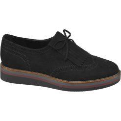 Półbuty damskie Graceland czarne. Czarne półbuty damskie skórzane marki Graceland, w kolorowe wzory. Za 99,90 zł.
