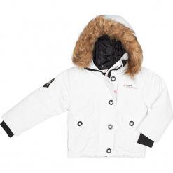 Kurtka zimowa w kolorze białym. Czerwone kurtki dziewczęce zimowe marki Peak Mountain, z aplikacjami, z materiału. W wyprzedaży za 172,95 zł.