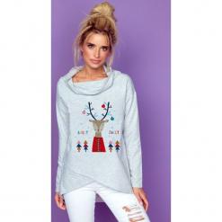 Bluza z kominem renifer k234. Białe bluzy dziewczęce rozpinane marki FOUGANZA, z bawełny. Za 129,00 zł.