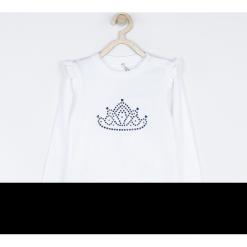 Koszulka. Białe bluzki dziewczęce bawełniane marki ELEGANT BABY GIRL, z aplikacjami, z klasycznym kołnierzykiem, z długim rękawem. Za 49,90 zł.