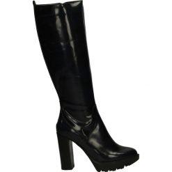 Kozaki na platformie - ST894 ABR BLU. Czarne buty zimowe damskie marki Kazar, z futra, przed kolano, na wysokim obcasie, na koturnie. Za 249,00 zł.