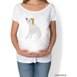 Koszulka damska, ciążowa z misiem polarnym. Niebieskie bluzki ciążowe marki bonprix, z materiału, z dekoltem w serek. Za 89,00 zł.