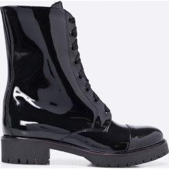 Gino Rossi - Botki Donata. Czarne buty zimowe damskie marki Gino Rossi, z materiału, na sznurówki. W wyprzedaży za 299,90 zł.