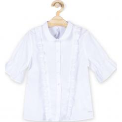 Bluzka. Białe bluzki dziewczęce bawełniane BACK TO SCHOOL GIRL, z falbankami, z krótkim rękawem. Za 54,90 zł.
