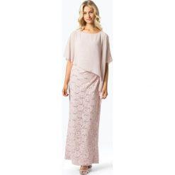 Swing - Damska sukienka wieczorowa, beżowy. Brązowe sukienki hiszpanki Swing, w koronkowe wzory, z koronki, wizytowe. Za 799,95 zł.