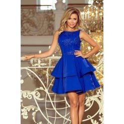 EXCELENT MARGO podwójnie rozkloszowana sukienka z haftowaną górą - CHABROWA. Niebieskie sukienki marki numoco, na imprezę, s, w kwiaty, z jeansu, sportowe, sportowe. Za 269,99 zł.