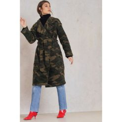 Płaszcze damskie: NA-KD Trend Płaszcz moro – Green,Multicolor