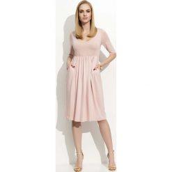 Odzież damska: Różowa Sukienka Midi z Rękawem do Łokcia
