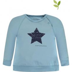 Bluza w kolorze błękitnym. Niebieskie bluzy dziewczęce rozpinane marki bellybutton, z nadrukiem, z bawełny. W wyprzedaży za 42,95 zł.