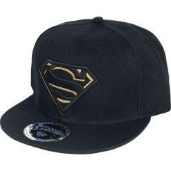 Superman Black/Gold Logo Czapka Snapback czarny. Czarne czapki z daszkiem damskie Superman, z haftami. Za 79,90 zł.
