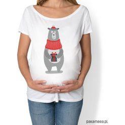 Bluzki ciążowe: koszulka damska, ciążowa z zimowym misiem