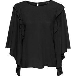 Bluzki damskie: Bluzka z szerokimi rękawami z falbaną bonprix czarny
