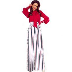 Spodnie damskie: Eleganckie spodnie z wysokim stanem białe w granatowo czerwone pasy