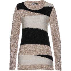 Sweter z puszystej przędzy bonprix czarno-kamienisto-piaskowy. Czarne swetry klasyczne damskie bonprix, z dzianiny. Za 109,99 zł.