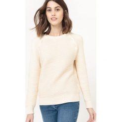 Sweter z okrągłym dekoltem, rękawy na guziki. Szare kardigany damskie marki La Redoute Collections, m, z bawełny, z kapturem. Za 105,00 zł.